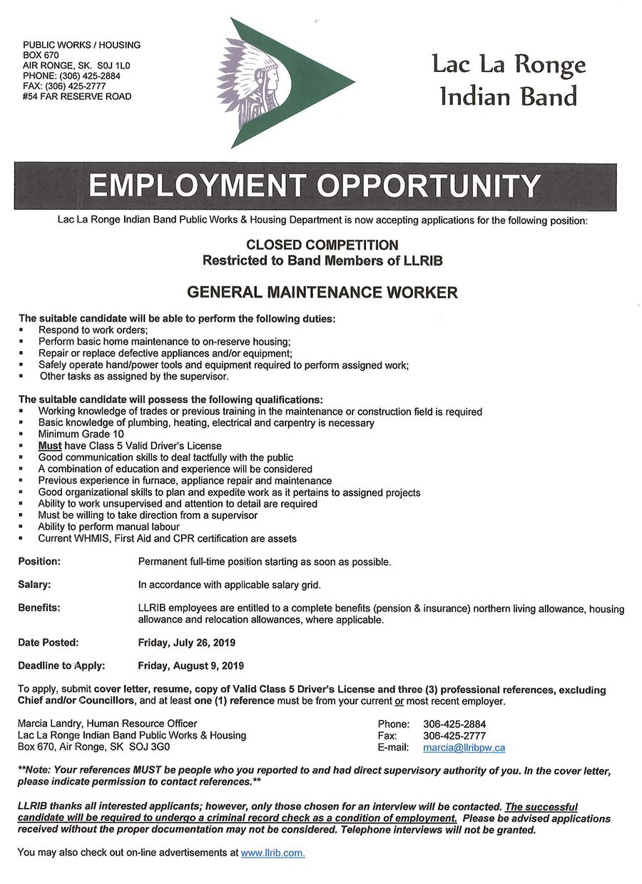 LLRIB JOBS | The Lac La Ronge Indian Band